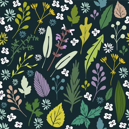 foliage: Seamless floral pattern with various herbs, leaves and flowers, flat design, vector illustration