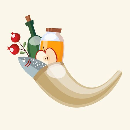 shofar: Rosh Hashanah greeting card, invitation with rams horn shofar, honey, fish and fruit, vector illustration, flat design Illustration