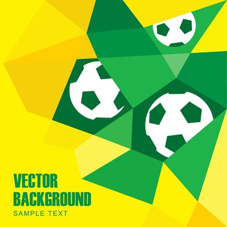 Polygon soccer football background with balls in Brazilian flag colors, yellow and green, vector illustration Ilustrace