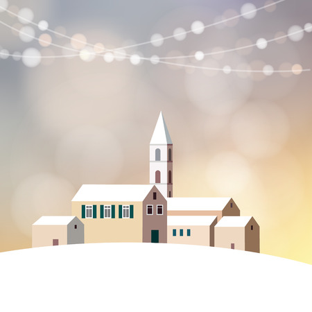 evening church: Christmas greeting card, invitation with winter snowy landscape, little village with houses, church and glitter lights, vector illustration background