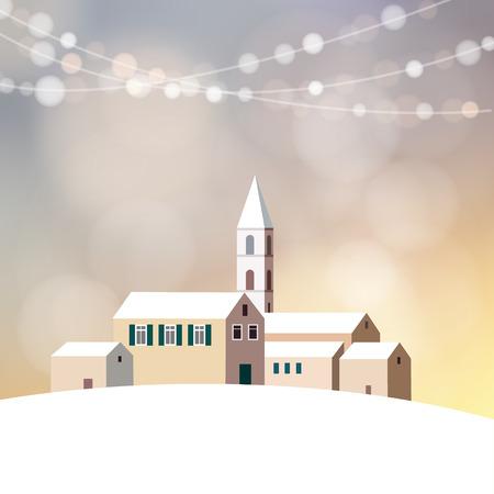 iglesia: tarjeta de felicitaci�n de la Navidad, la invitaci�n con el invierno paisaje nevado, peque�o pueblo con casas, iglesias y brillo luces, ilustraci�n vectorial