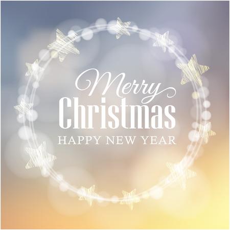 Światła: Boże Narodzenie karty z pozdrowieniami z olśniewającego światła bokeh wieniec i gwiazdy, ilustracji wektorowych tle Ilustracja