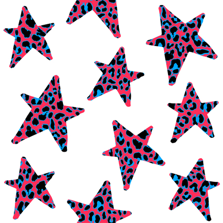 Seamless pattern with leopard stars, trendy rock or punk design, vector illustration background Illustration
