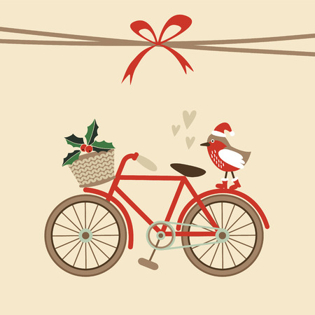 Cute retro christmas card, invitation with hand drawn bicycle and bird with santa hat, flat design, vector illustration background