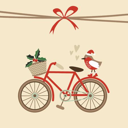 botas de navidad: Tarjeta de Navidad linda retro, la invitación con la bicicleta dibujado a mano y aves con sombrero de santa, diseño plano, ilustración vectorial Vectores