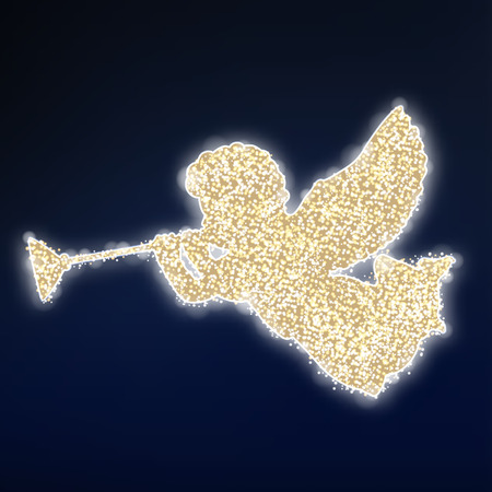 estrella caricatura: Tarjeta de Navidad con la silueta de oro de �ngel que volaba con la trompeta, brillo dise�o polvo de estrellas, ilustraci�n vectorial Vectores