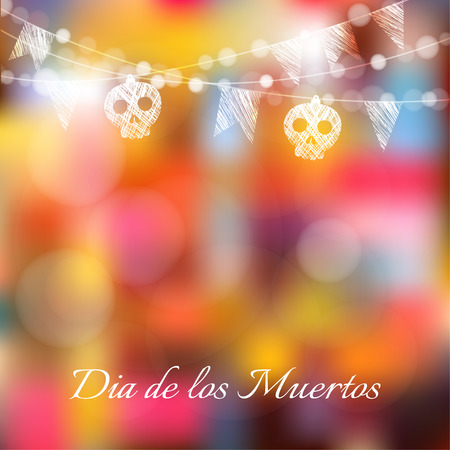 Dia de los muertos (Day of the Dead) or Halloween card, invitation with garland of lights, sculls and party flags, vector illustration background