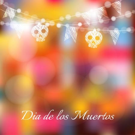 ¢  day of the dead       ¢: Día de los Muertos (día de los muertos) o tarjeta de Halloween, invitación con guirnaldas de luces, sculls y banderas del partido, ilustración vectorial