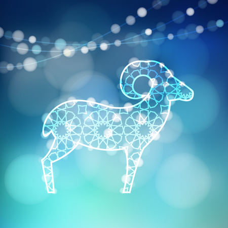 sacrifices: Greeting card with silhouette of ornamental sheep illuminated by lights, vector illustration background for Eid Ul Adha holiday