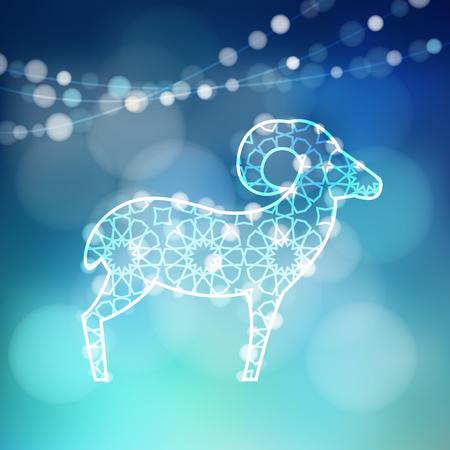 sacrificio: Tarjeta de felicitación con la silueta de las ovejas ornamental iluminada por las luces, ilustración vectorial Fondo de Eid ul Adha