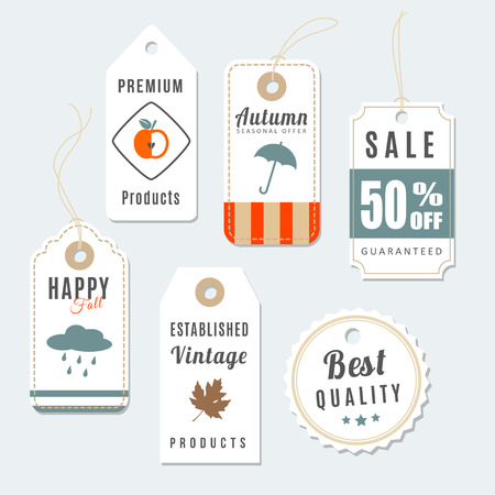 Retro set of autumn, fall vintage sale and quality labels, cardboard tags, vector illustration