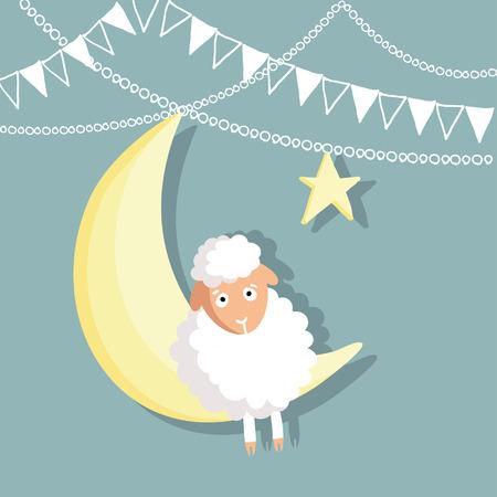 sacrificio: Eid-ul-Adha tarjeta de felicitación con las ovejas, luna, estrellas y banderas, festival de la comunidad musulmana del sacrificio, diseño plano Vectores