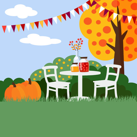 clouds: garden: Autumn, fall garden party background, flat design, vector illustration