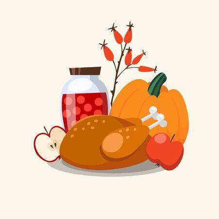 roasted turkey: Thanksgiving greeting card, invitation with traditional food, roasted turkey, pumpkin, apples, jar, vector illustration background Illustration