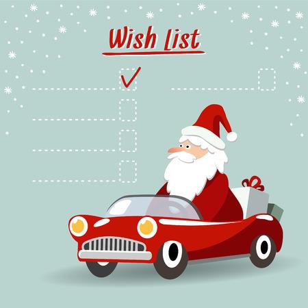 Leuke kerst wenskaart, wens lijst met Santa Claus, retro sportwagen en geschenken, vector illustratie achtergrond Stock Illustratie