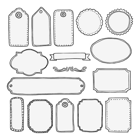 web page: Set of hand drawn blank vintage frames, tags and labels, isolated vectors