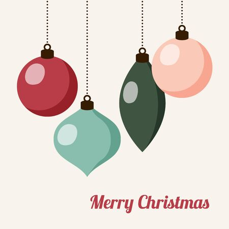 modern christmas baubles: Retro christmas card with christmas balls, vector illustration background