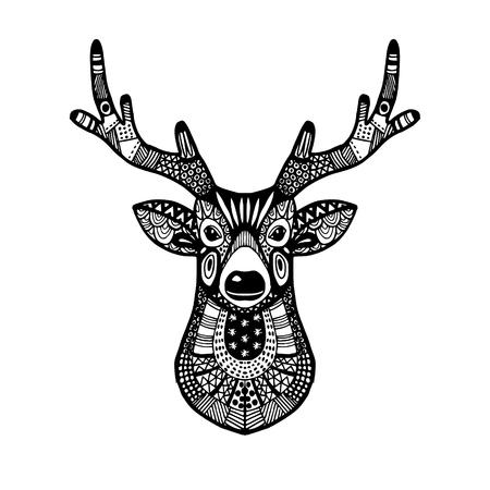 Ornamental deer head, trendy ethnic zentangle design, hand drawn, isolated vector illustration, christmas background