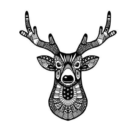 Ornamental deer head, trendy ethnic zentangle design, hand drawn, isolated vector illustration, christmas background