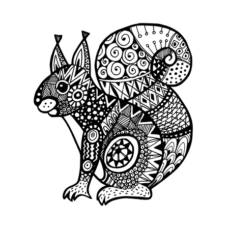 poster designs: Ornamental squirrel, trendy ethnic zentangle design, hand drawn, isolated vector illustration