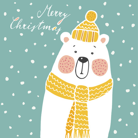 Cute christmas greeting card, invitation, with hand drawn polar bear wearing knitted scarf and hat, vector illustration background