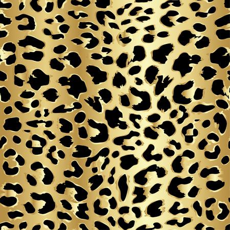 Leopard naadloze patroon ontwerp in luxe gouden kleur, vector illustratie achtergrond Stock Illustratie