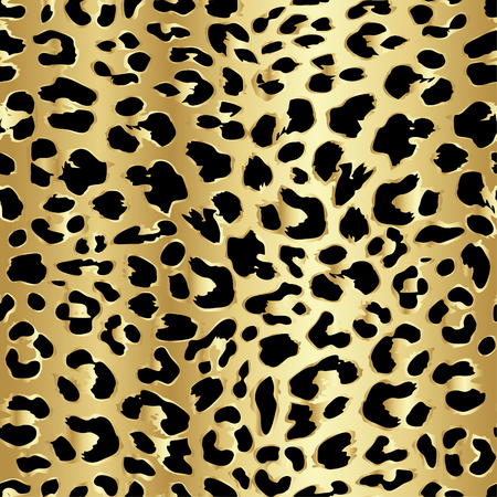 foil: Leopard seamless pattern design in luxury gold color, vector illustration background