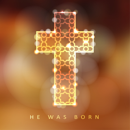 christian: Christmas background with illuminated ornamental cross, christian concept, vector illustration background