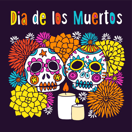Dia de los Muertos (Day of Dead) or Halloween greeting card, invitation, with hand drawn ornamental sculls, candles and flowers, vector illustration background Illustration