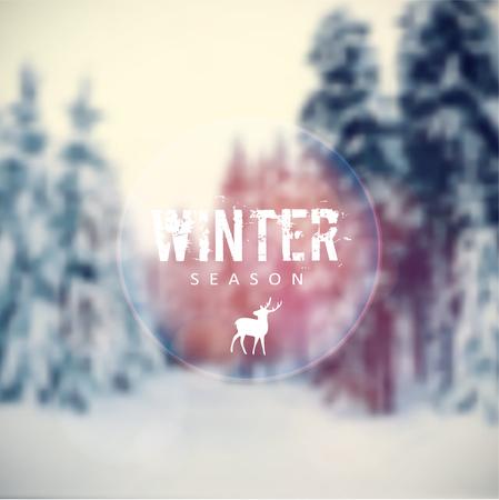 renna: Cartolina di Natale con offuscata paesaggio invernale con alberi coperti di neve e renne icona, illustrazione vettoriale