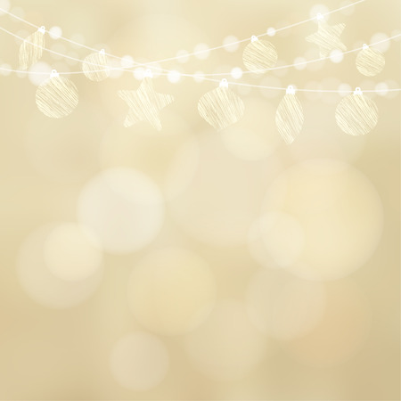 Christmas greeting card with garland of lights and christmas balls, baubles, glittering golden blurred vector illustration background