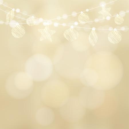 Vánoční přání s girlandou světla a vánoční koule, cetky, třpytivé zlaté rozmazané vektorové ilustrace pozadí