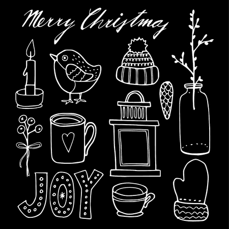 finch: Set of cute chalk christmas hand drawn graphic elements, isolated vector objects Illustration