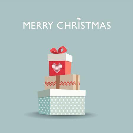 illustration invitation: Christmas greeting card, invitation with gift boxes, vector illustration background