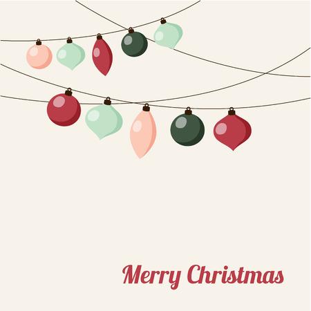 Kerst wenskaart met krans van kerstballen, vector illustratie achtergrond