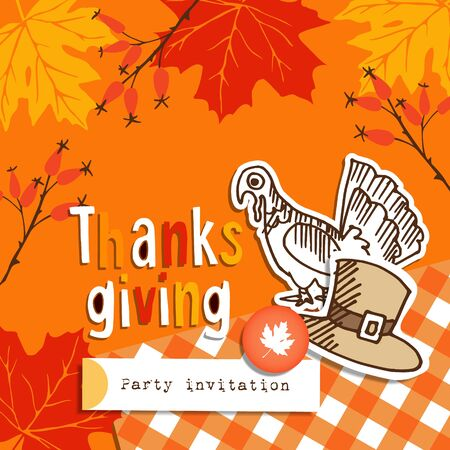 funny turkey: Cute thanksgiving greeting card, invitation with doodle turkey, hat and autumn leaves, vector illustration background