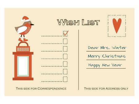 christmas list: Cute christmas card, wish list with bird and lantern, flat design, vector illustration background