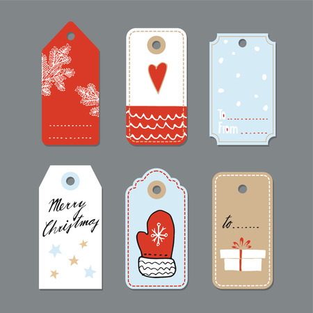 Set of cute christmas gift tags, labels, hand drawn illustrations, flat design, isolated vector objects  イラスト・ベクター素材