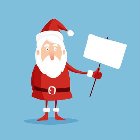 transparent background: Cute christmas greeting card with Santa Claus holding transparent, flat design, vector illustration background Illustration