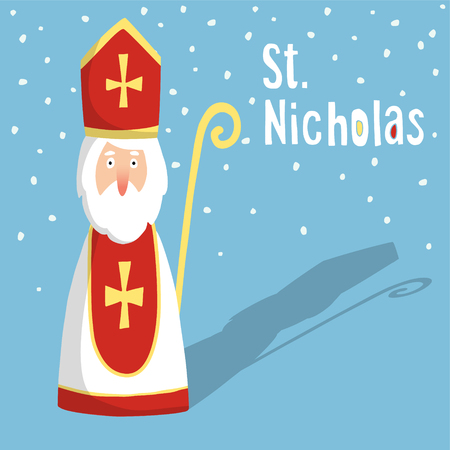 Cute greeting card with Saint Nicholas with mitre and pastoral staff, flat design, vector illustration Stock Illustratie