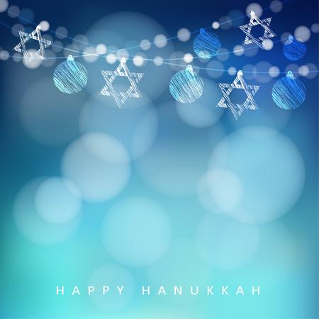 estrella de david: d�a de fiesta tarjeta de felicitaci�n jud�a de Hannukah con guirnalda de luces y estrellas jud�as, ilustraci�n vectorial