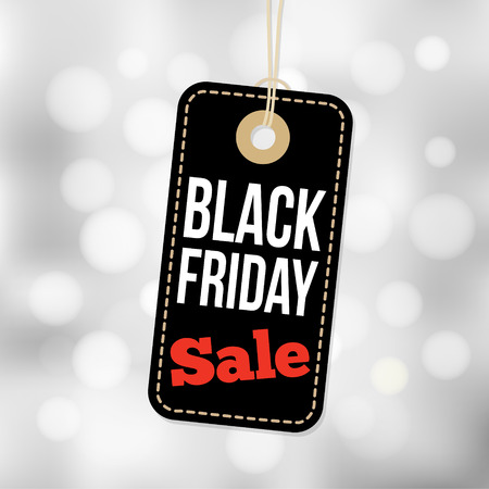 sale sign: Black Friday sale tag, label and blurred background, business vector illustration