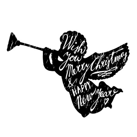 black and white image drawing: Christmas greeting card with silhouette of angel blowing trumpet and hand lettered text, vector illustration background