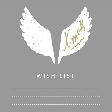 Cute christmas card, wish list with hand drawn white angel wings, vector illustration background Illustration