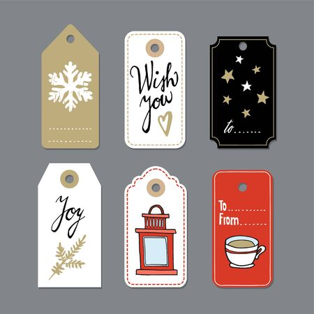 christmas gift tag: Set of cute christmas gift tags, labels, hand drawn illustrations, flat design, isolated vector objects Illustration