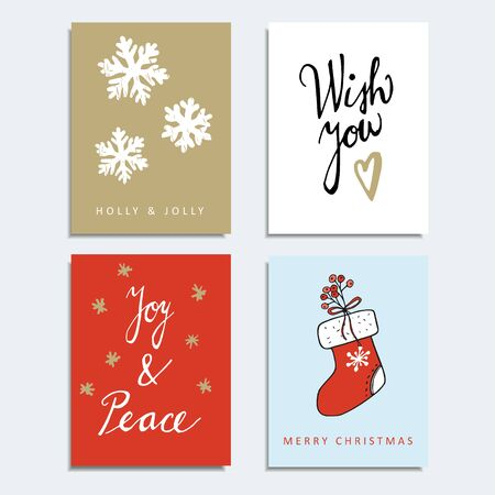 journal: Set of christmas greeting, journal cards, invitations, vector hand drawn illustration backgrounds