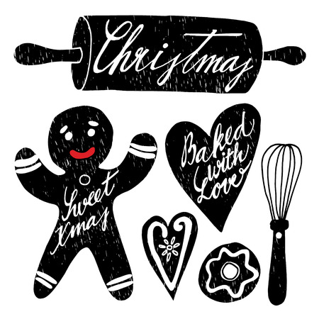 baking: Set of hand drawn christmas baking elements – such as gingerbread man, cookies, rolling pin, whisk etc., vector isolated objects Illustration