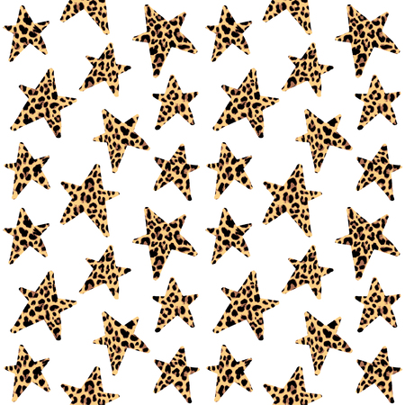 Seamless pattern with leopard stars, trendy rock or punk design, vector illustration background  イラスト・ベクター素材