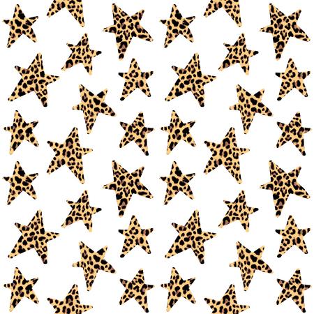 Seamless pattern with leopard stars, trendy rock or punk design, vector illustration background 일러스트