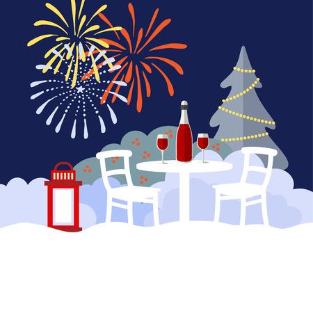 felicitaciones cumplea�os: A�o Nuevo o fondo de invierno de Navidad fiesta en el jard�n, dise�o plano, ilustraci�n vectorial Vectores
